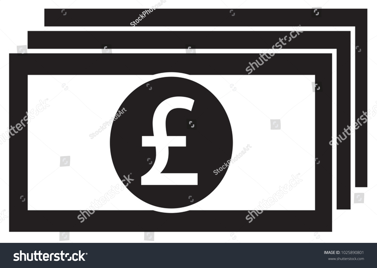 Pound Pound Sterling Currency Icon Logo Stock Vector 1025890801