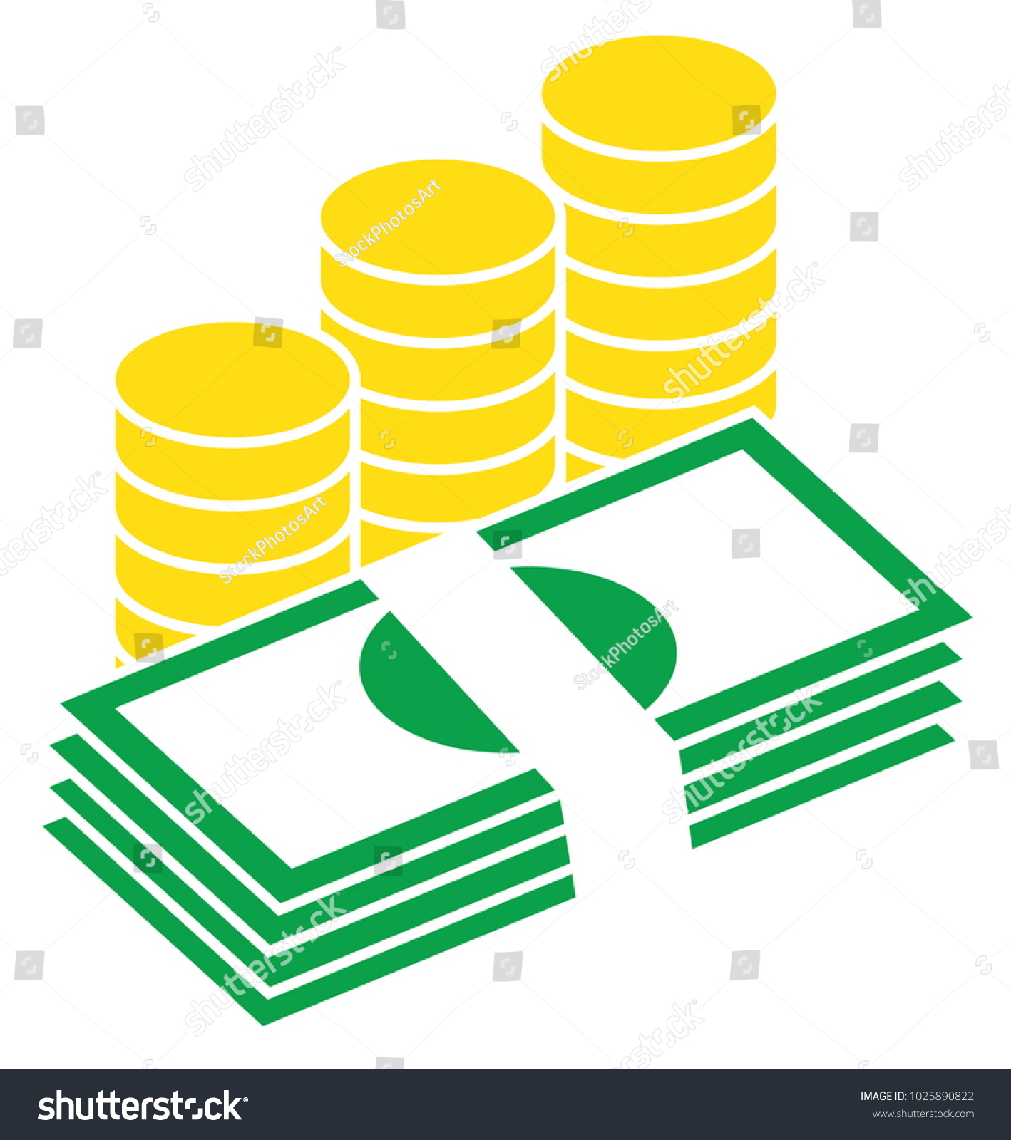 Pile bank notes bills coins stacked stock vector 1025890822 pile of bank notes or bills and coins stacked currency icon or logo vector biocorpaavc Gallery