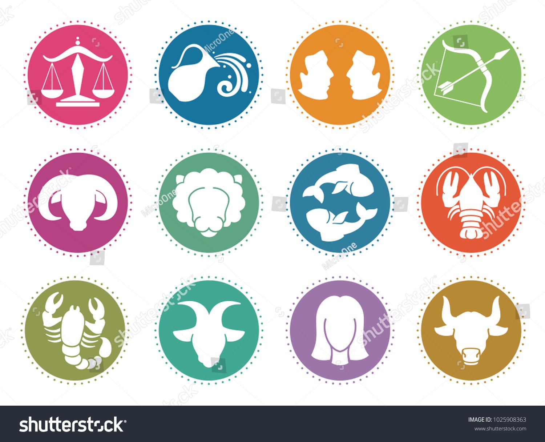 Horoscope Zodiac Signs Astrology Symbols Set Stock Illustration