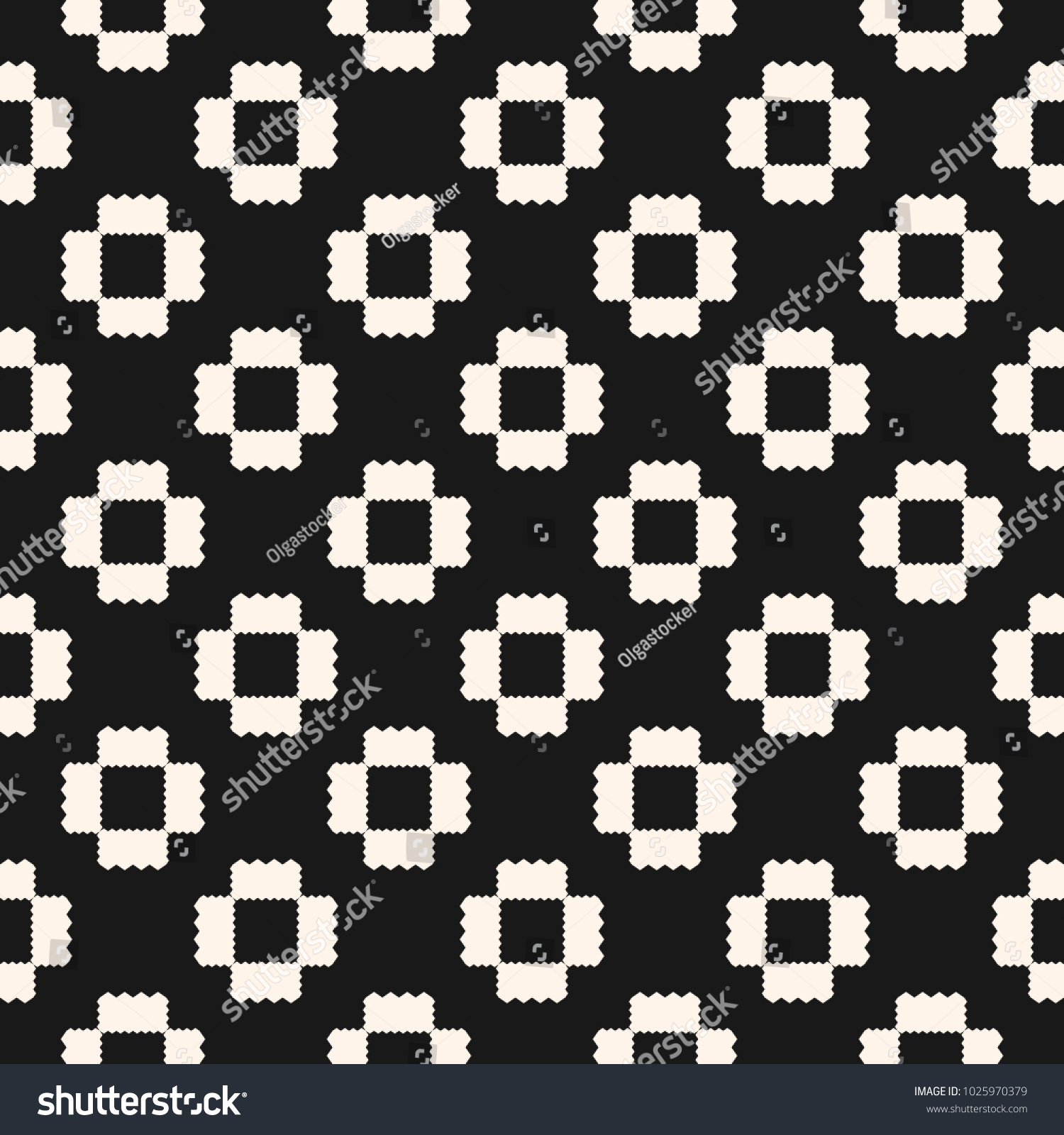 Raster Geometric Ornament Pattern With Jagged Shapes, Repeat Tiles Ornamental