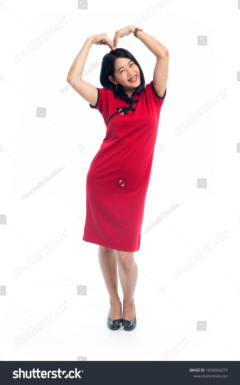Asian Woman Traditional Red Chinese Dress Stock Photo (Edit Now ...