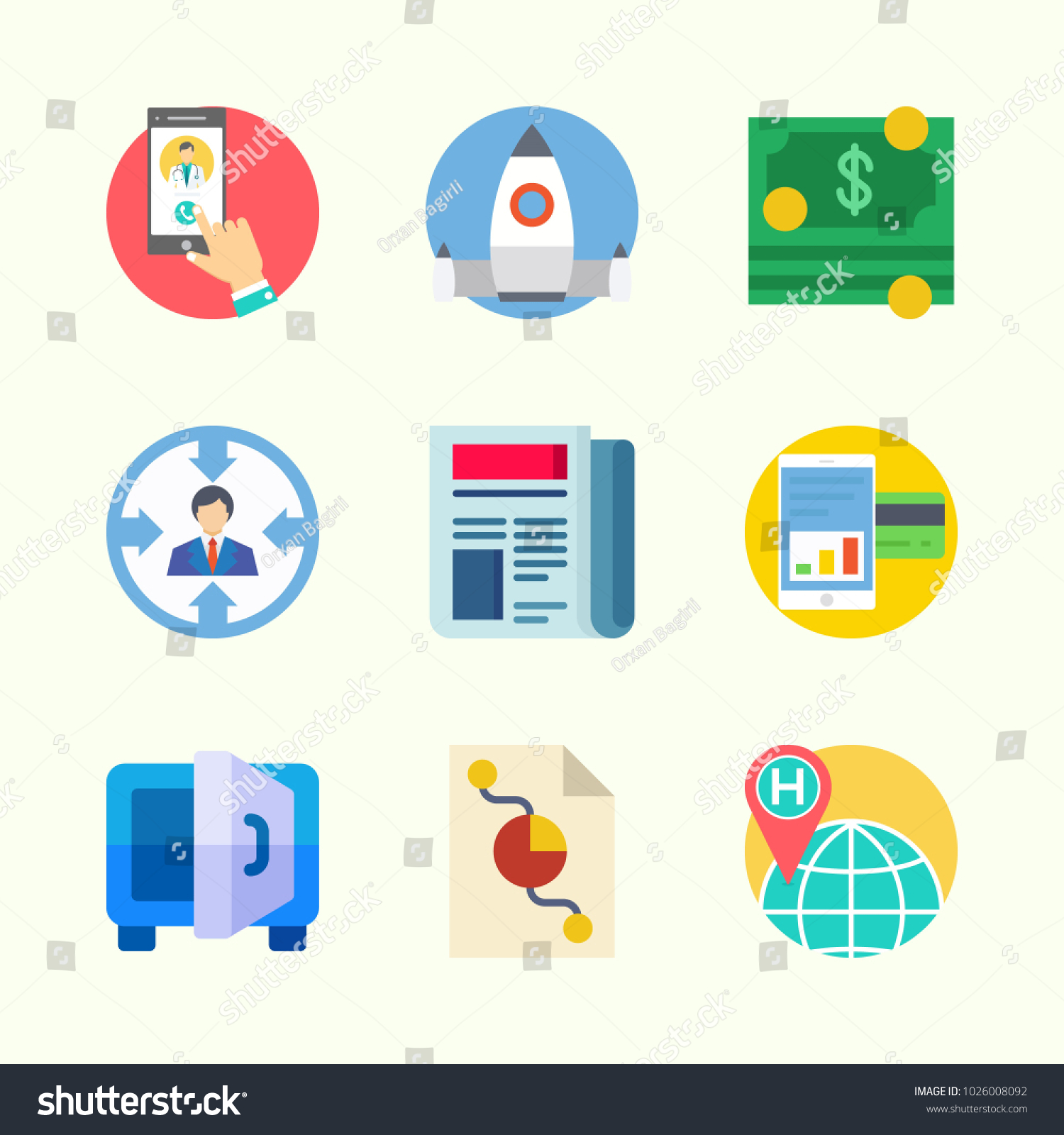 Icons about digital marketing pie chart stock vector 1026008092 icons about digital marketing with pie chart startup target smartphone newspaper and nvjuhfo Image collections