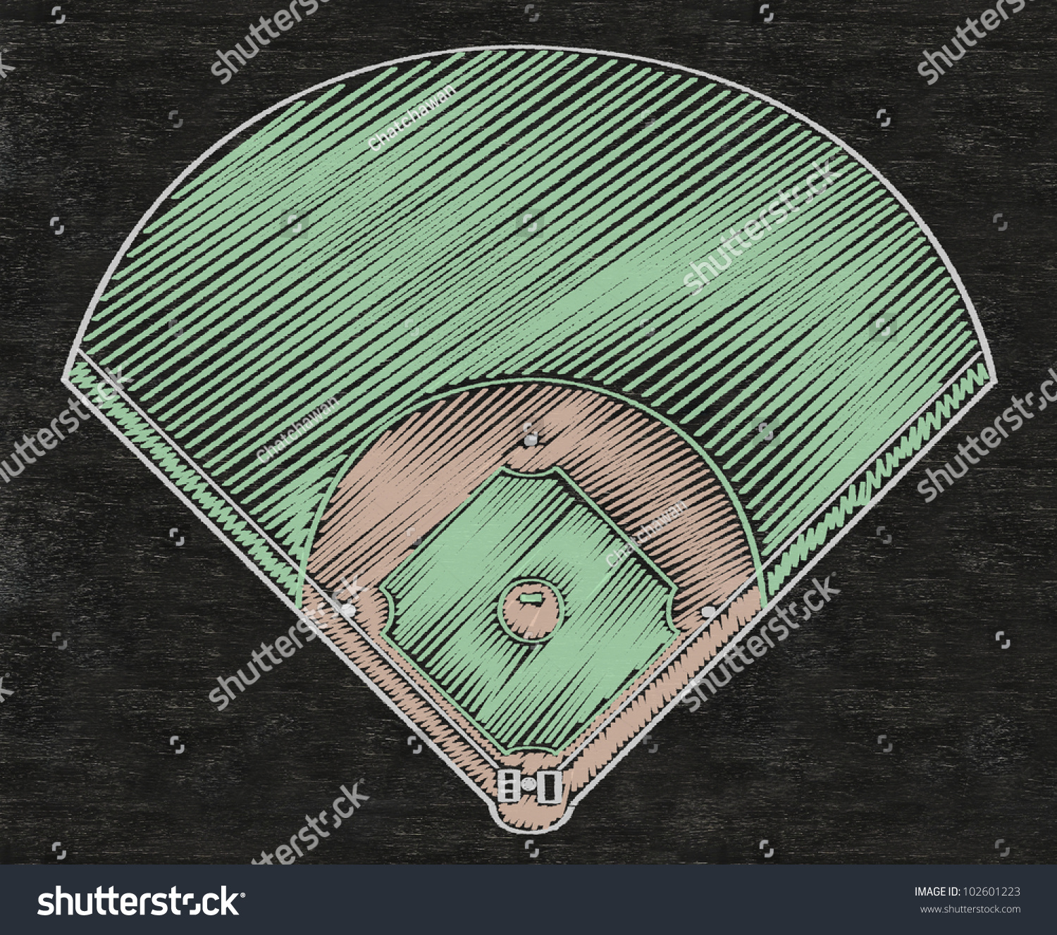 baseball field written on blackboard background high
