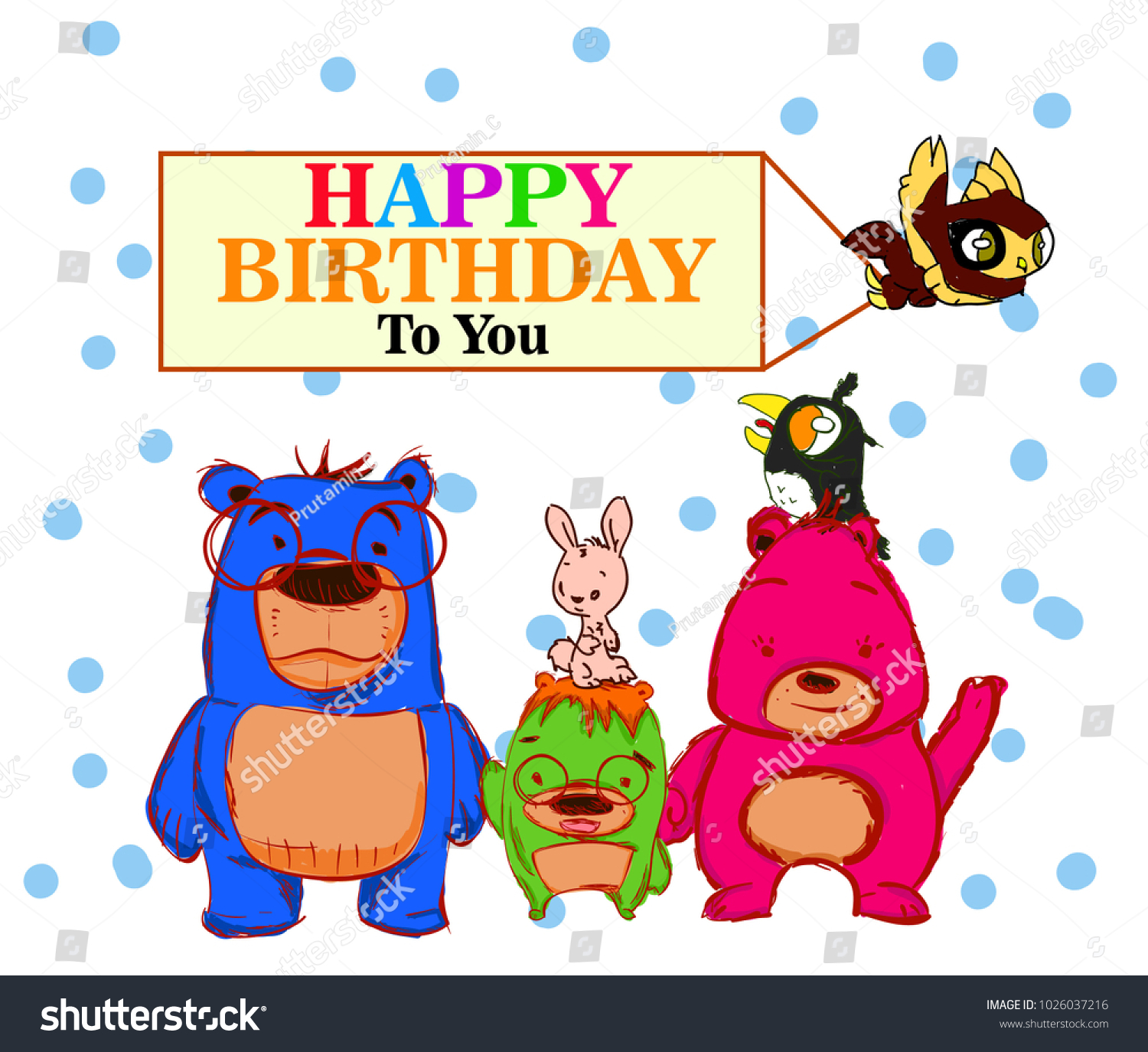 Happy Birthday Greeting Card Bear Family Stock Vector Royalty Free