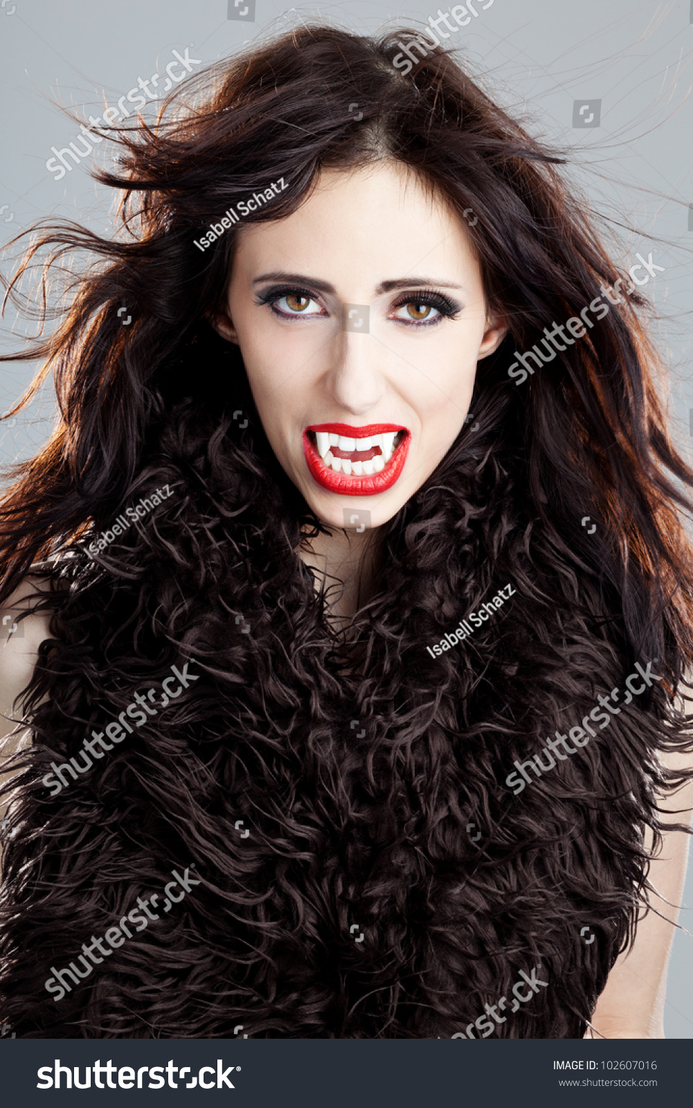 Sexy halloween blonde with fangs — photo 7