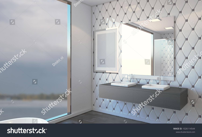 Spacious Bathroom Gray Tones Heated Floors Stock Illustration ...