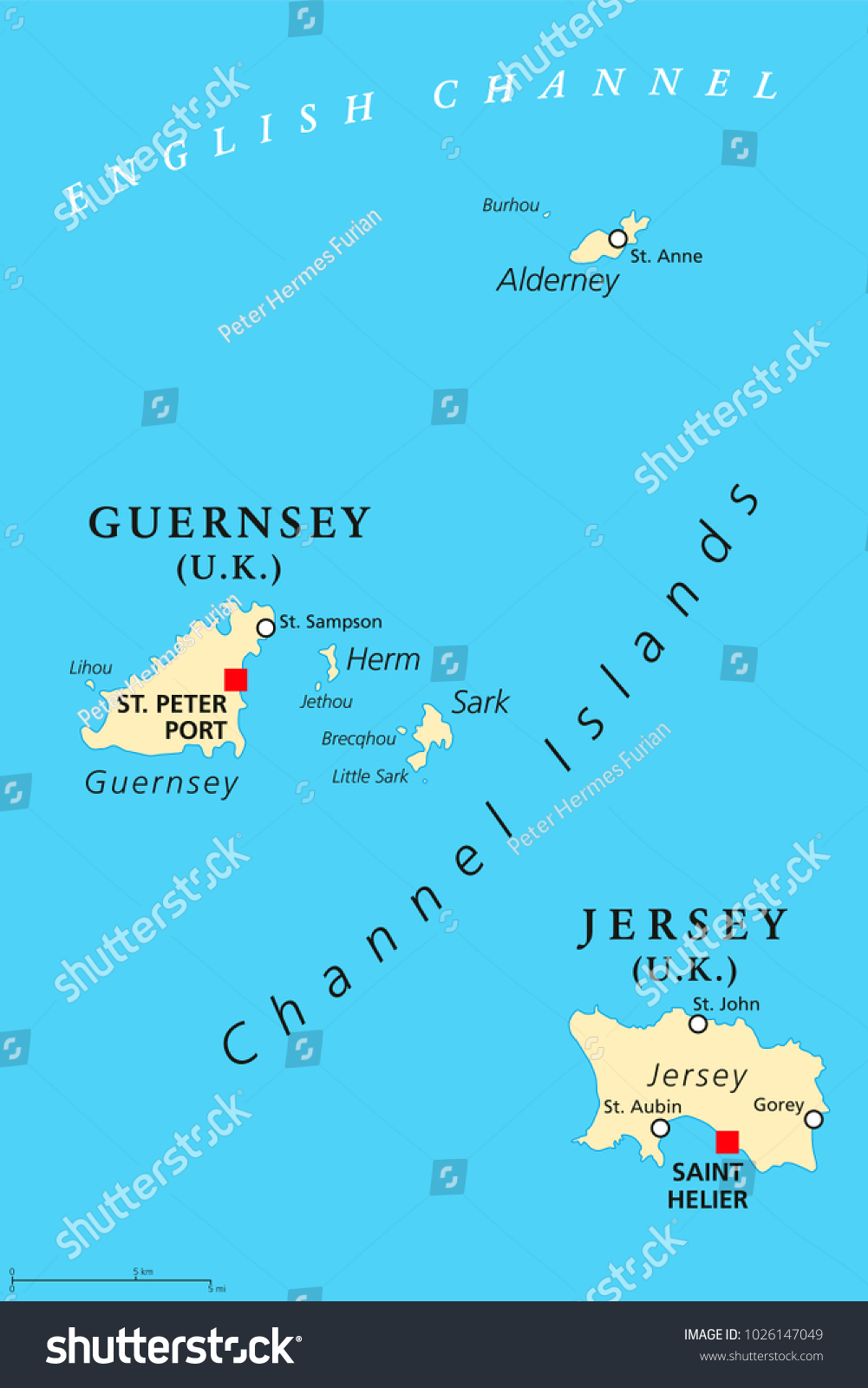 Guernsey Jersey Political Map Capitals Channel Stock Vector