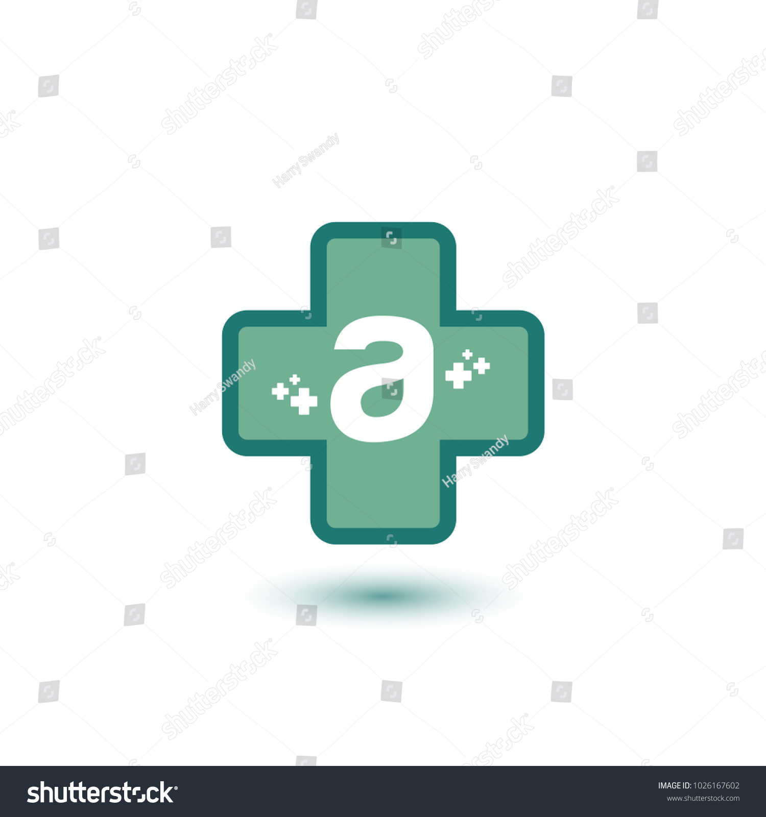 Cross Green Letter Negative Space Initial Stock Vector 1026167602 ...
