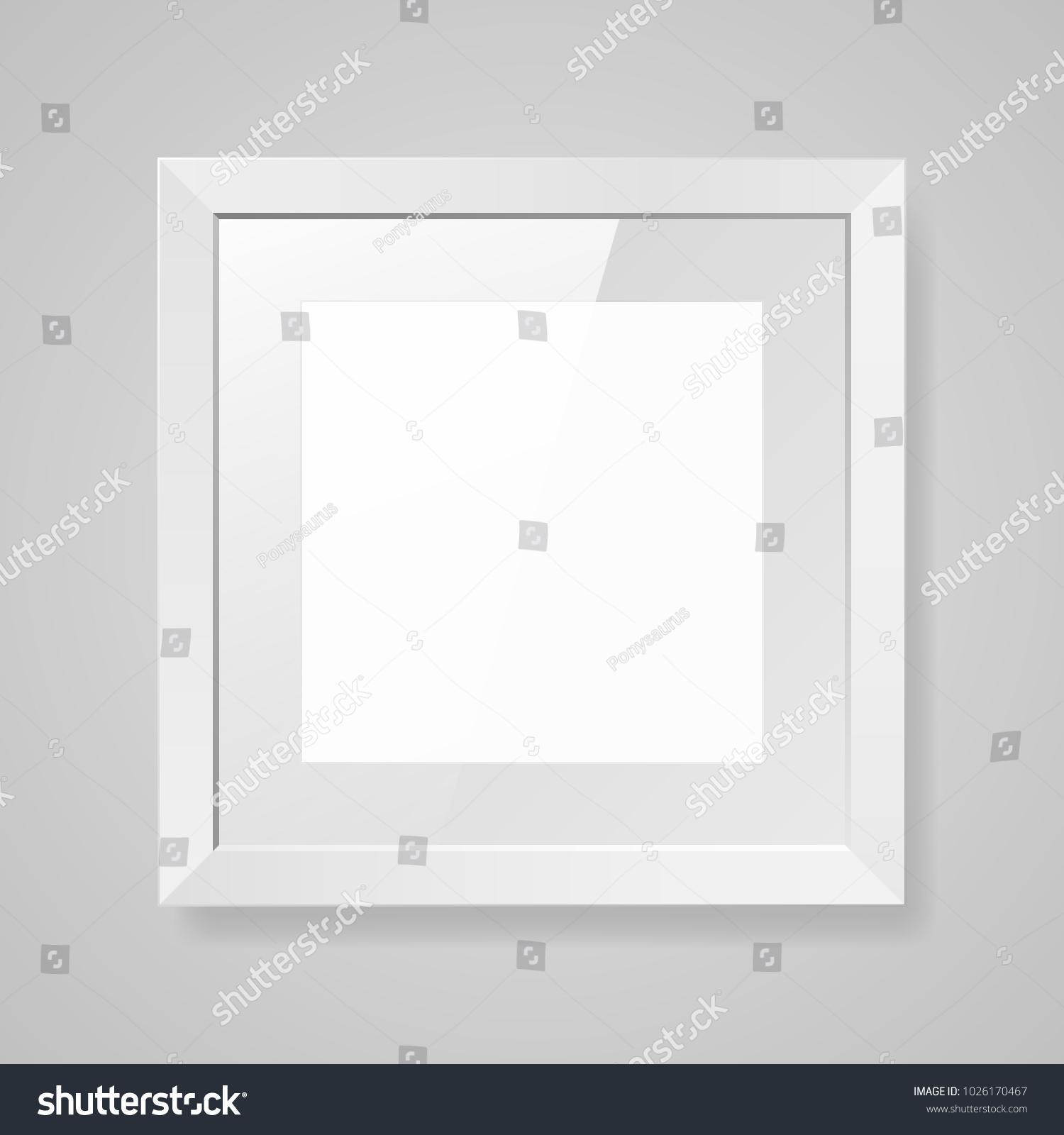 Realistic Empty Square White Frame Glass Stock Vector (2018 ...