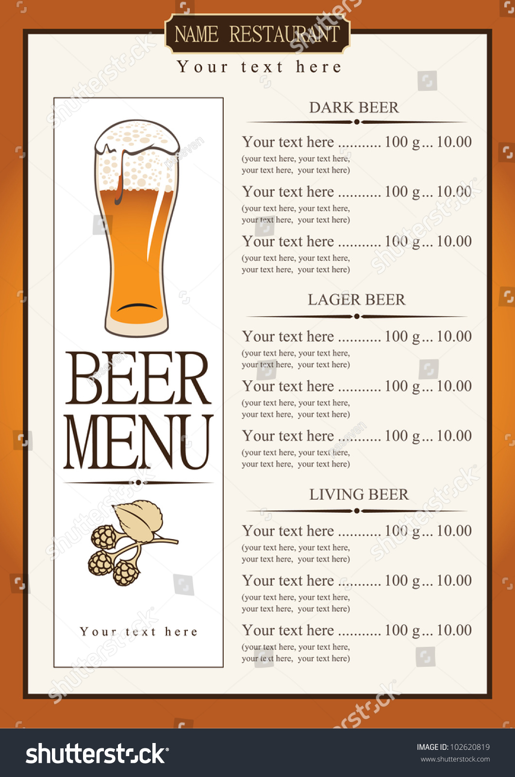 Menu List Beer Stock Vector 102620819 - Shutterstock
