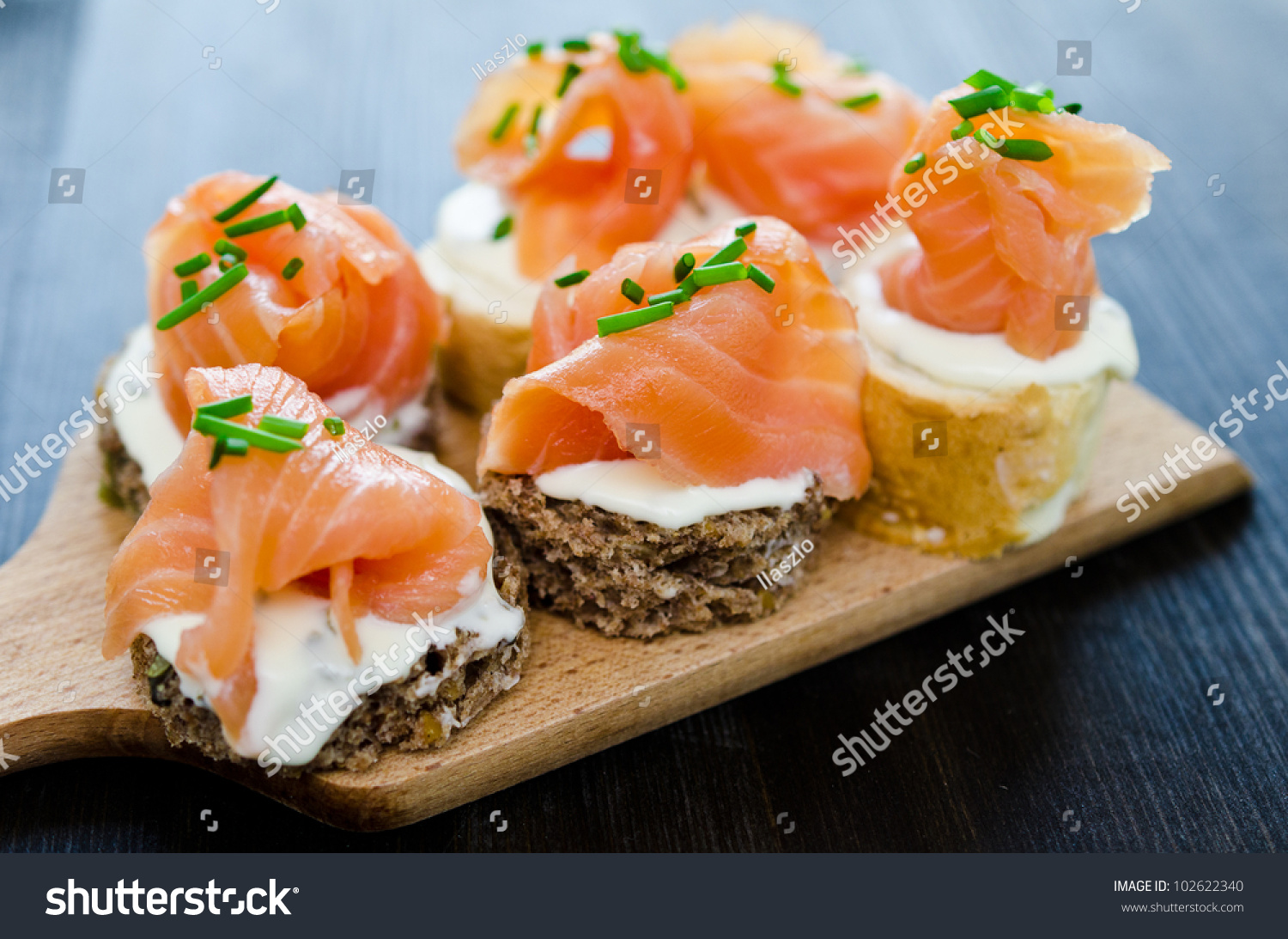 Canapes smoked salmon cream cheese stock photo 102622340 for Cream cheese canape
