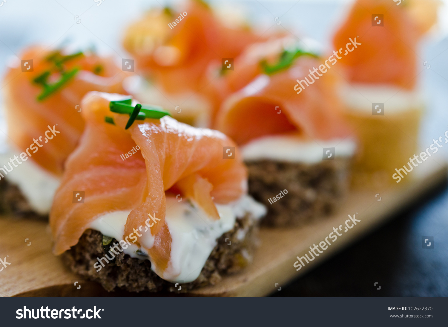 Canapes smoked salmon cream cheese stock photo 102622370 for Smoked salmon cream cheese canape