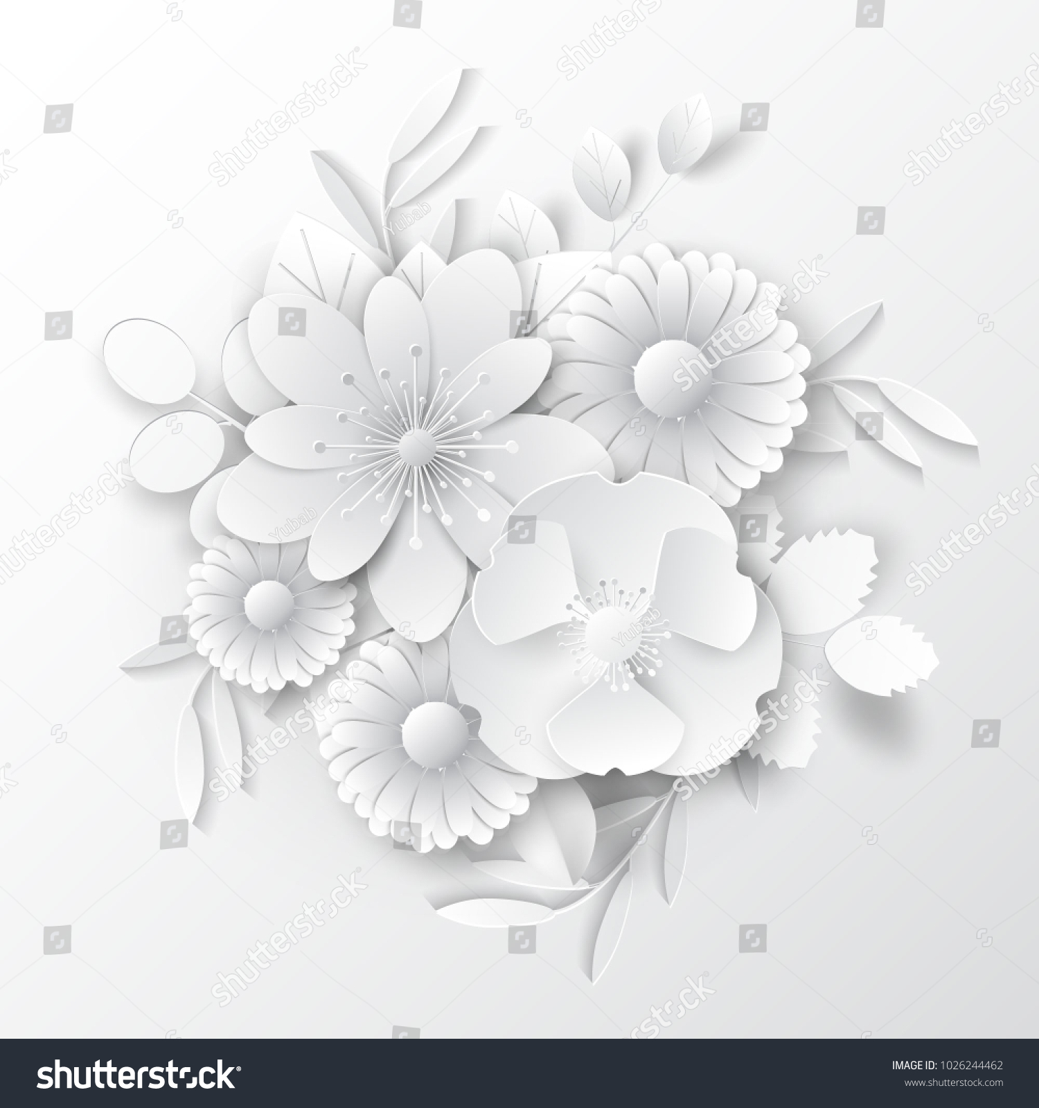 Paper Art Flowers Background Paper Cut Stock Vector Royalty Free
