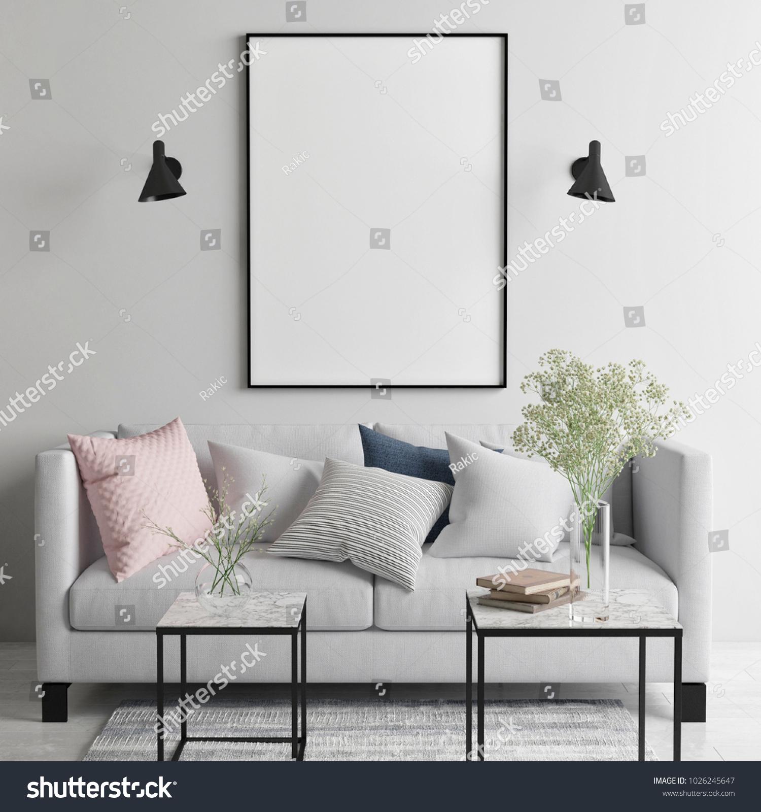 Mock Poster Scandinavian Living Room Your Stock Illustration ...