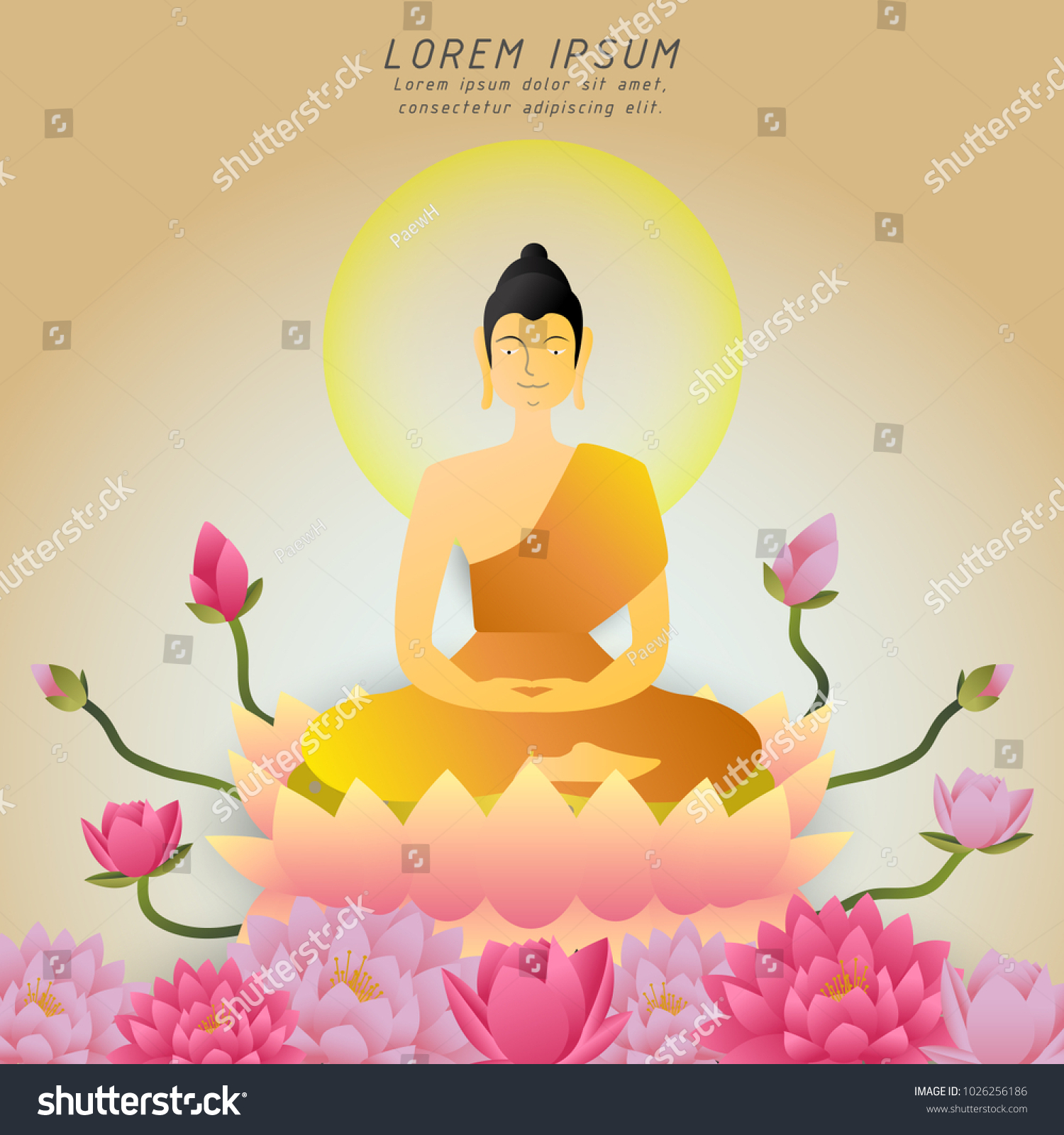 Buddha Sitting On Lotus Flower Buddhist Holidayvector Stock Vector