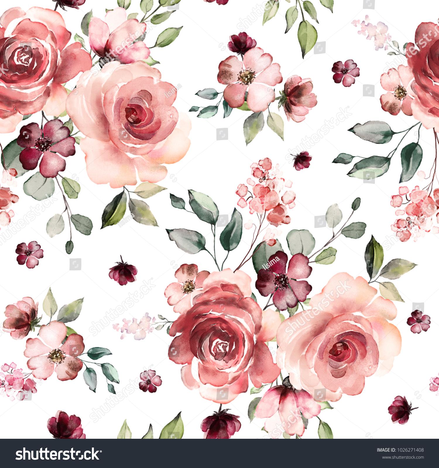 Seamless Pattern Spring Flowers Leaves Hand Stockillustration