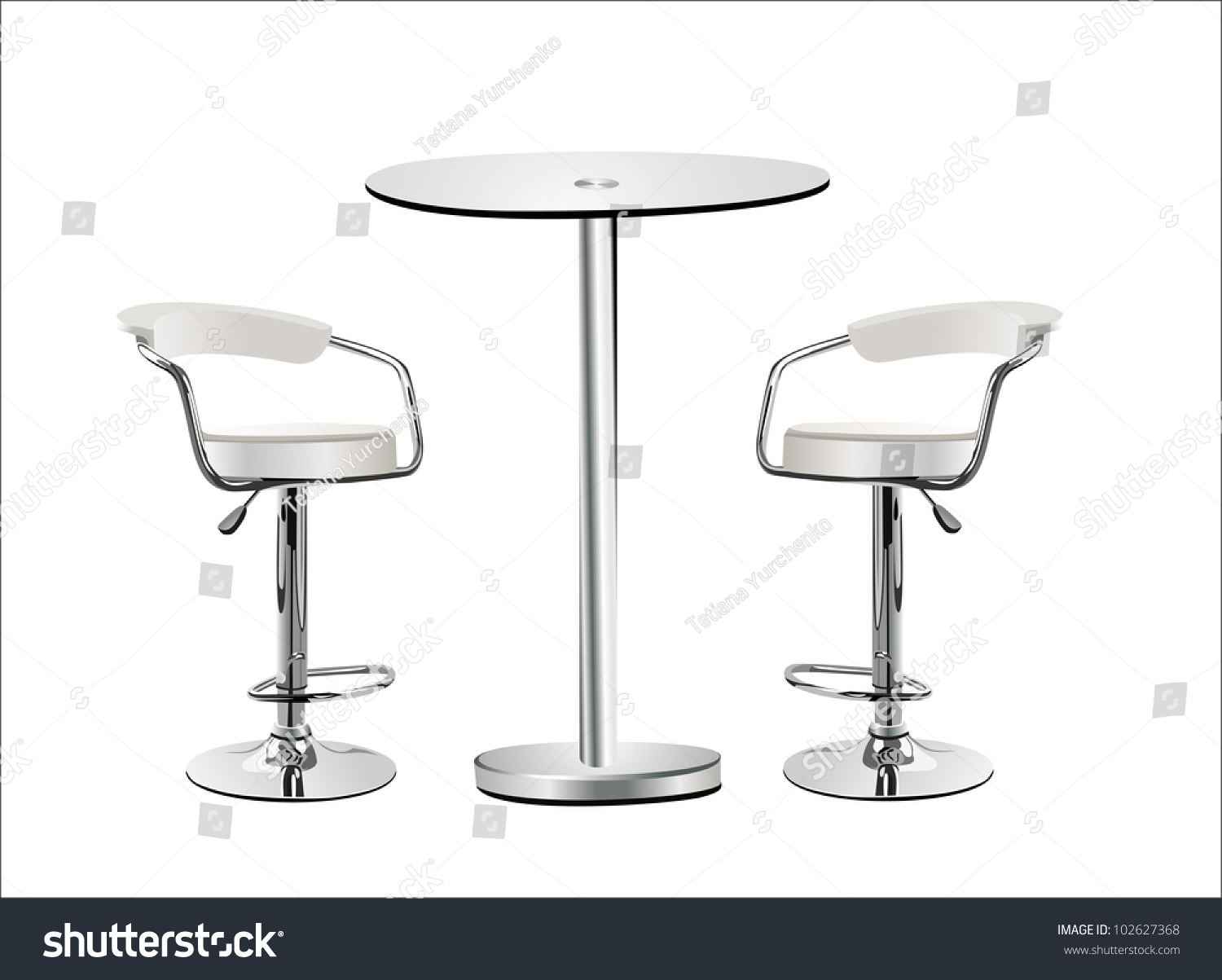 Amazing High Glass Top Table W Chairs On White Background.