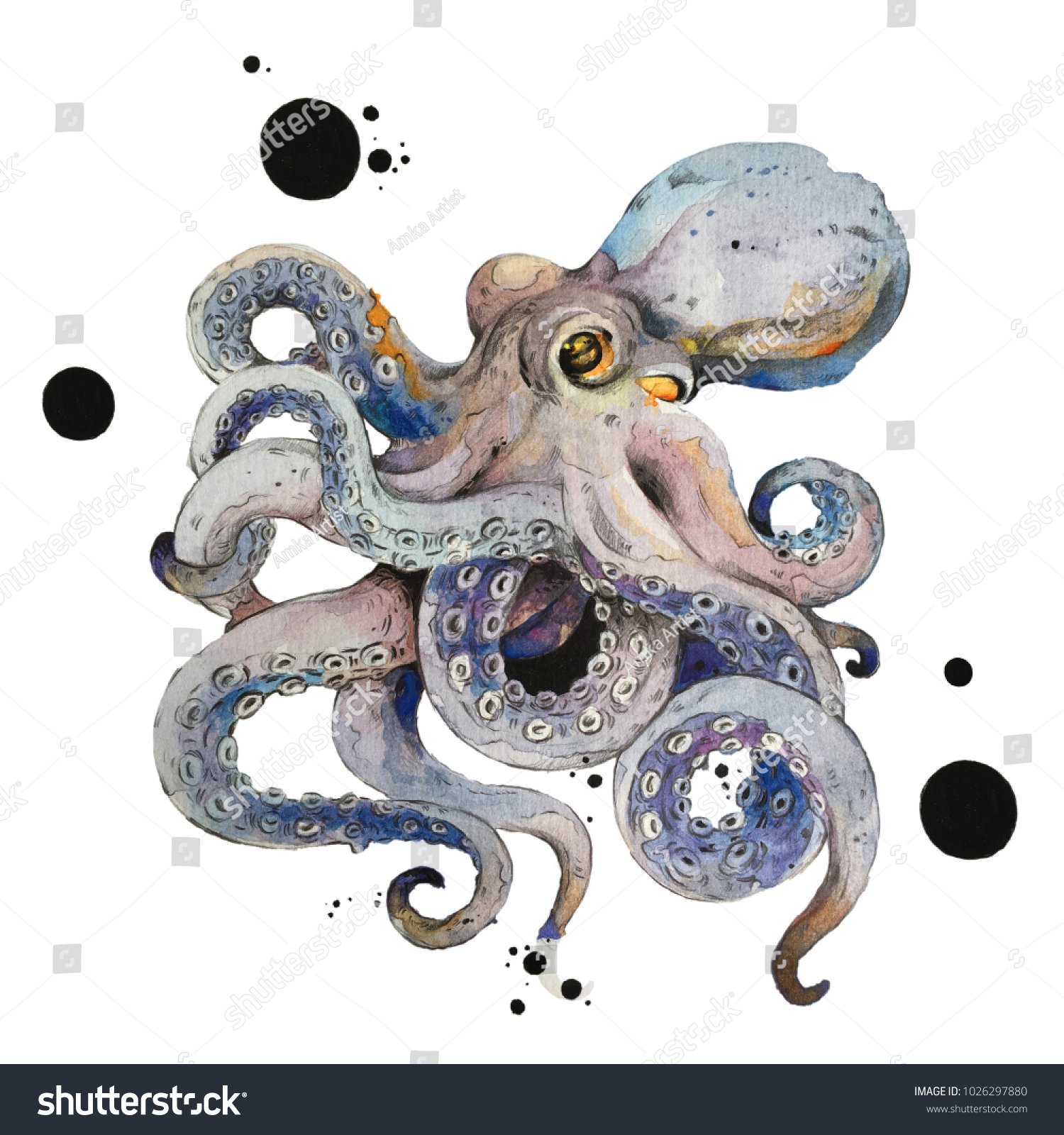 Isolated Octopus Watercolour Painting On White Stockillustration ...