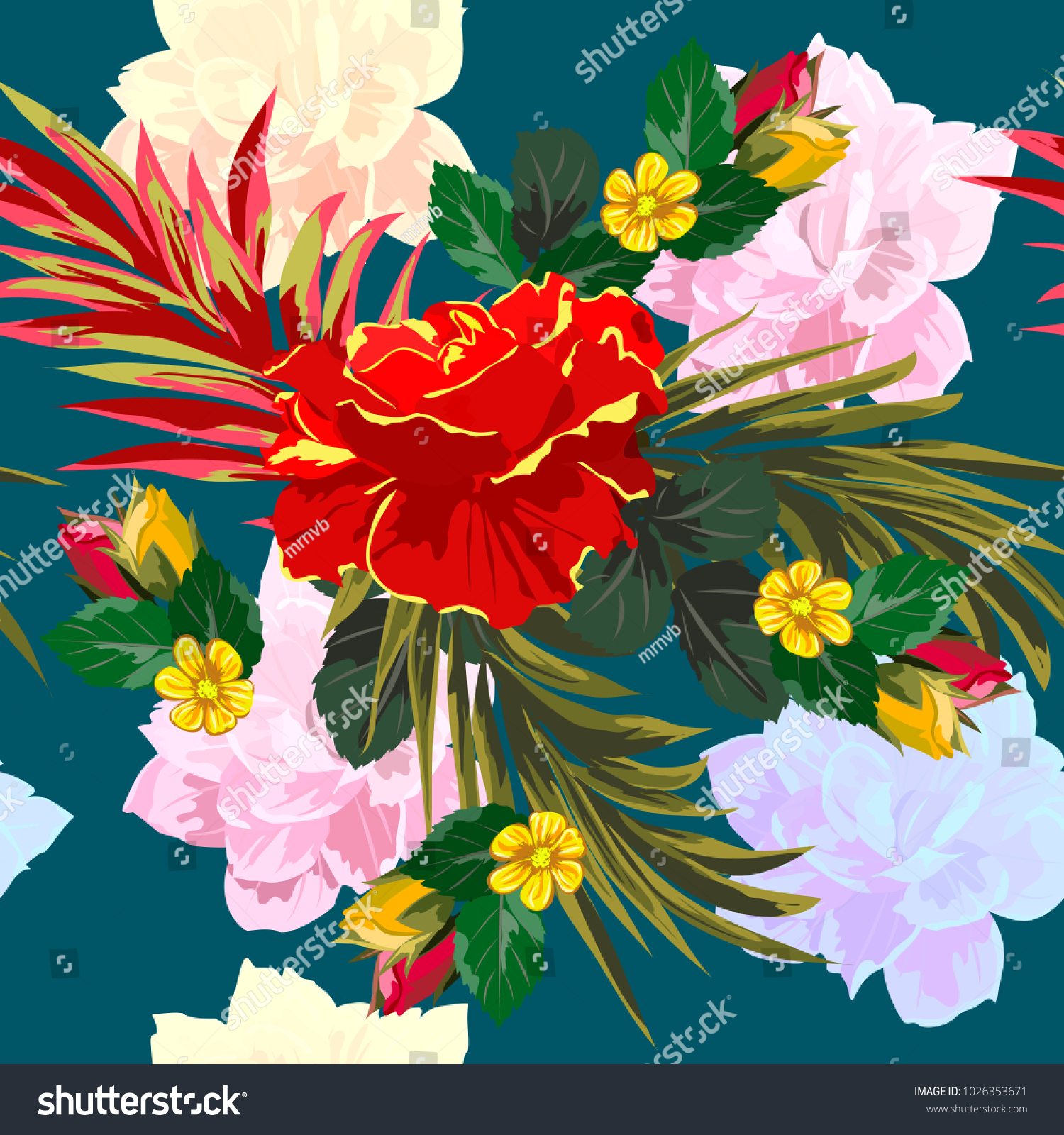 Seamless Background Cute Colorful Flowers Design Stock Vector ...