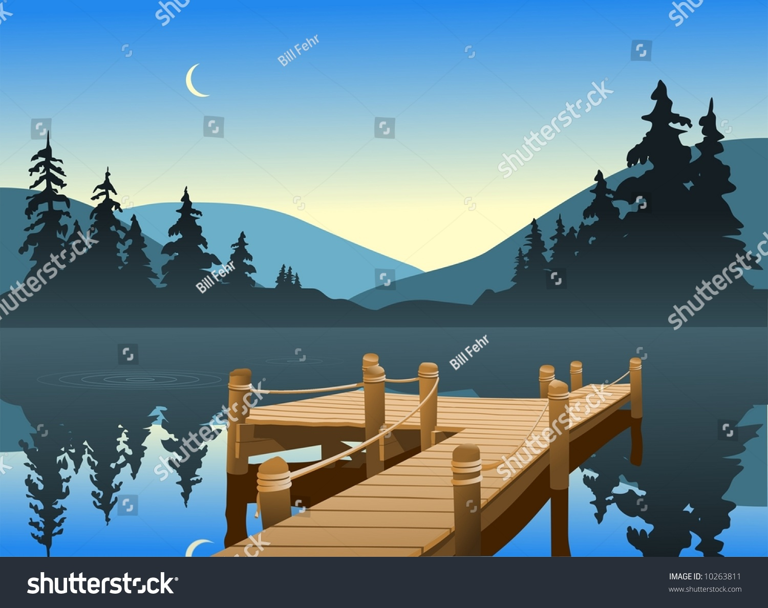 Outdoor Scene Fishing Dock On Quiet Stock Vector 10263811