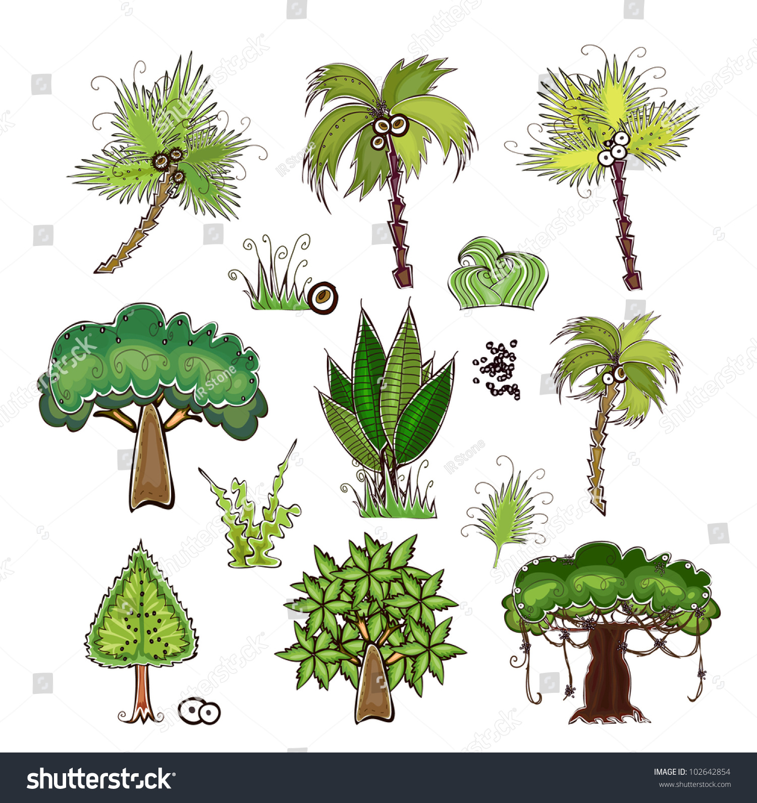 Set Jungle Trees Happy World Collection Stock Vector 102642854 ...