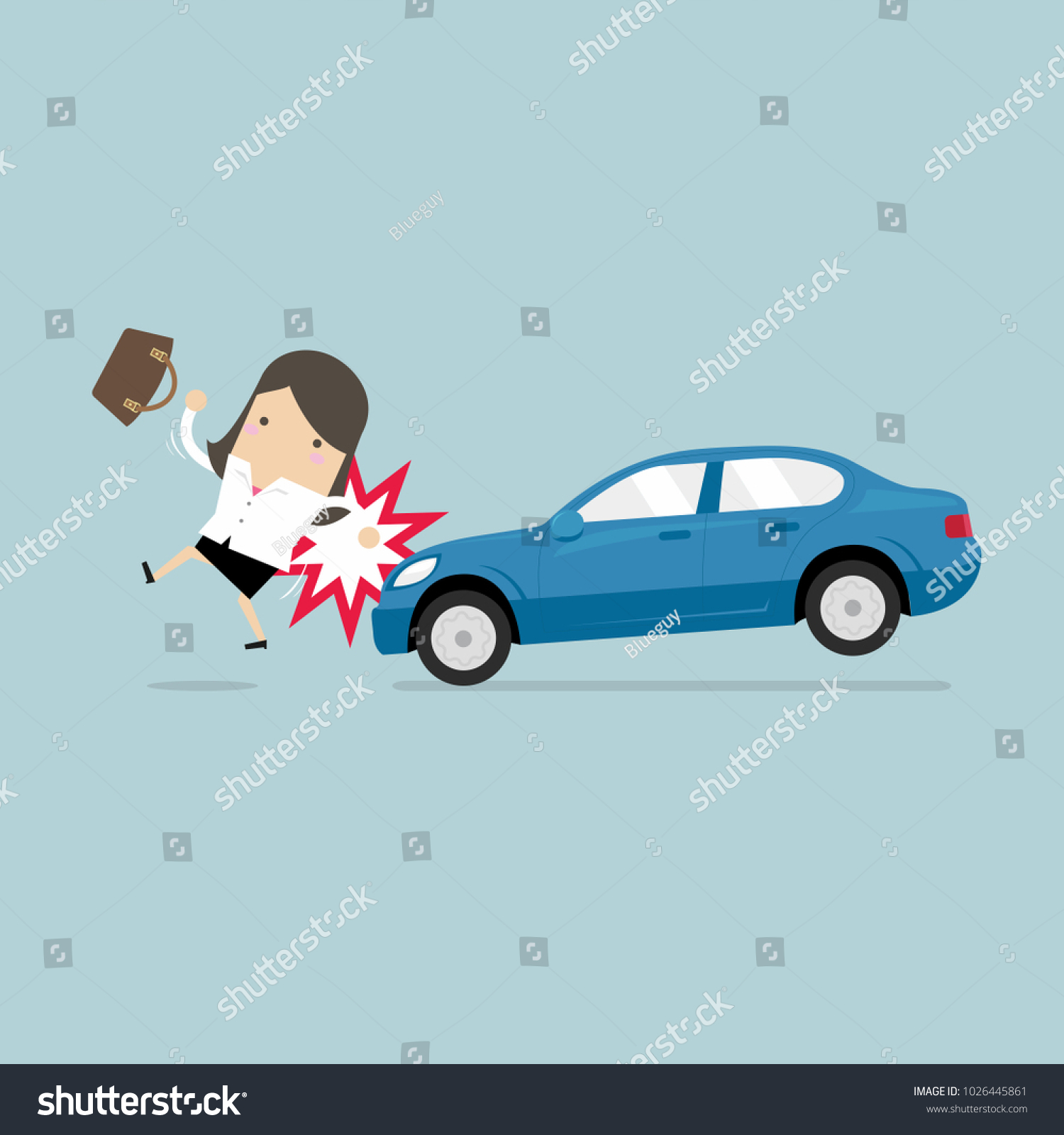 Businesswoman About Be Hit By Car Stock Vector (Royalty Free ...
