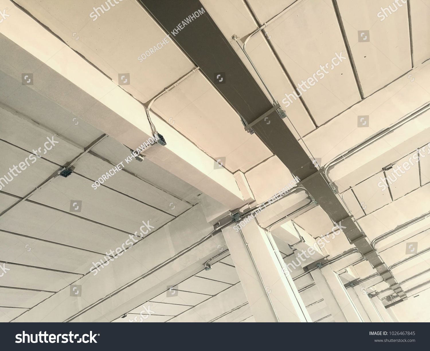 Wire Way Electrical Wiring Installed Building Stock Photo Edit Now For Is In The Floor Of