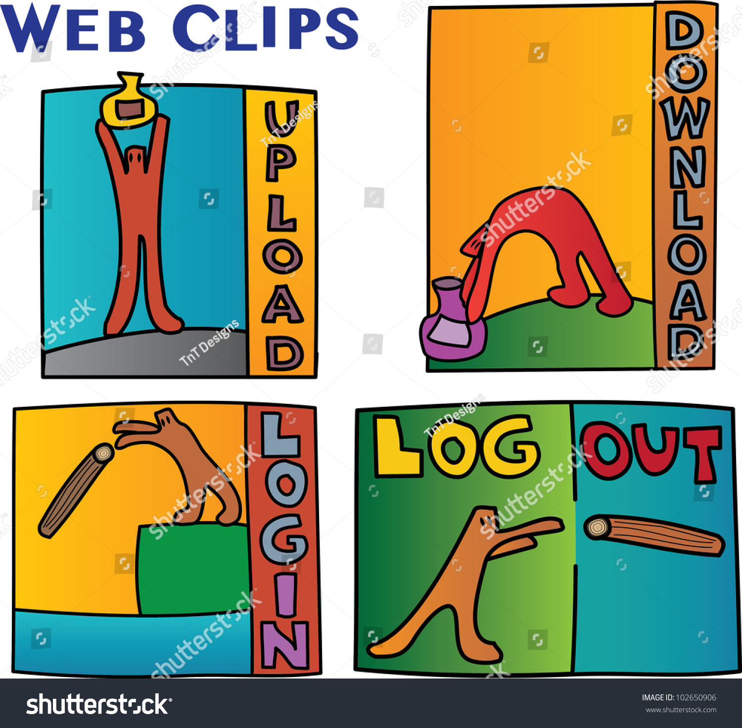 Internet Signs Symbols Featuring Cartoon Characters Stock