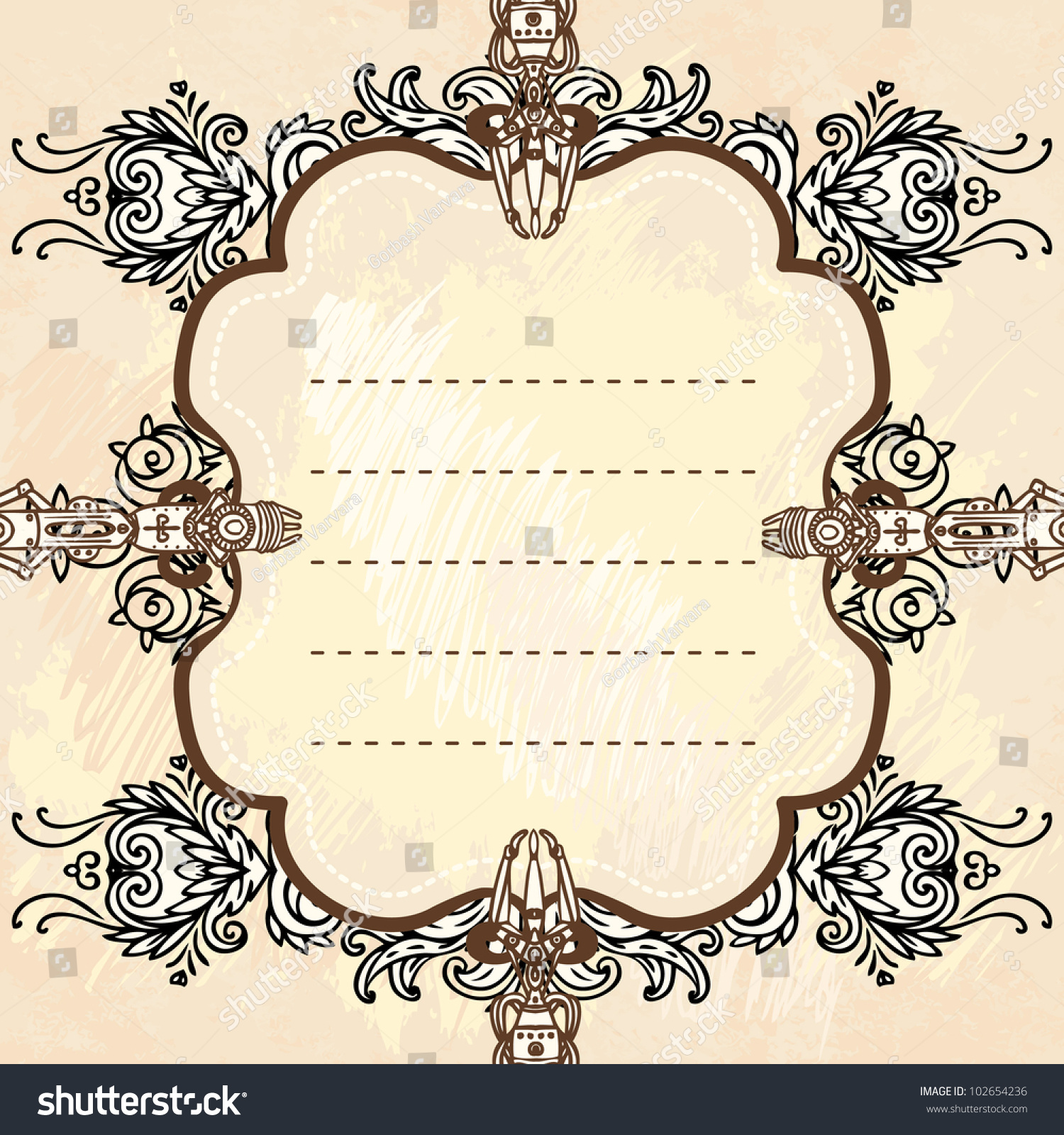 Drawn Industrial Steampunk Style Frame Stock Vector ...