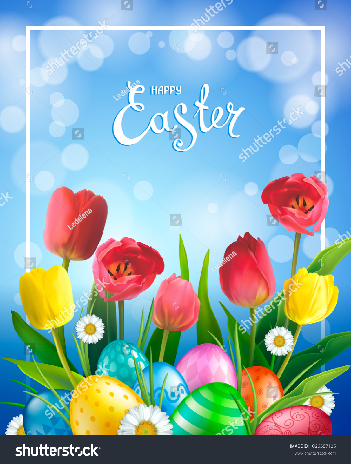 Easter Greeting Card Realistic Glossy 3 D Stock Illustration