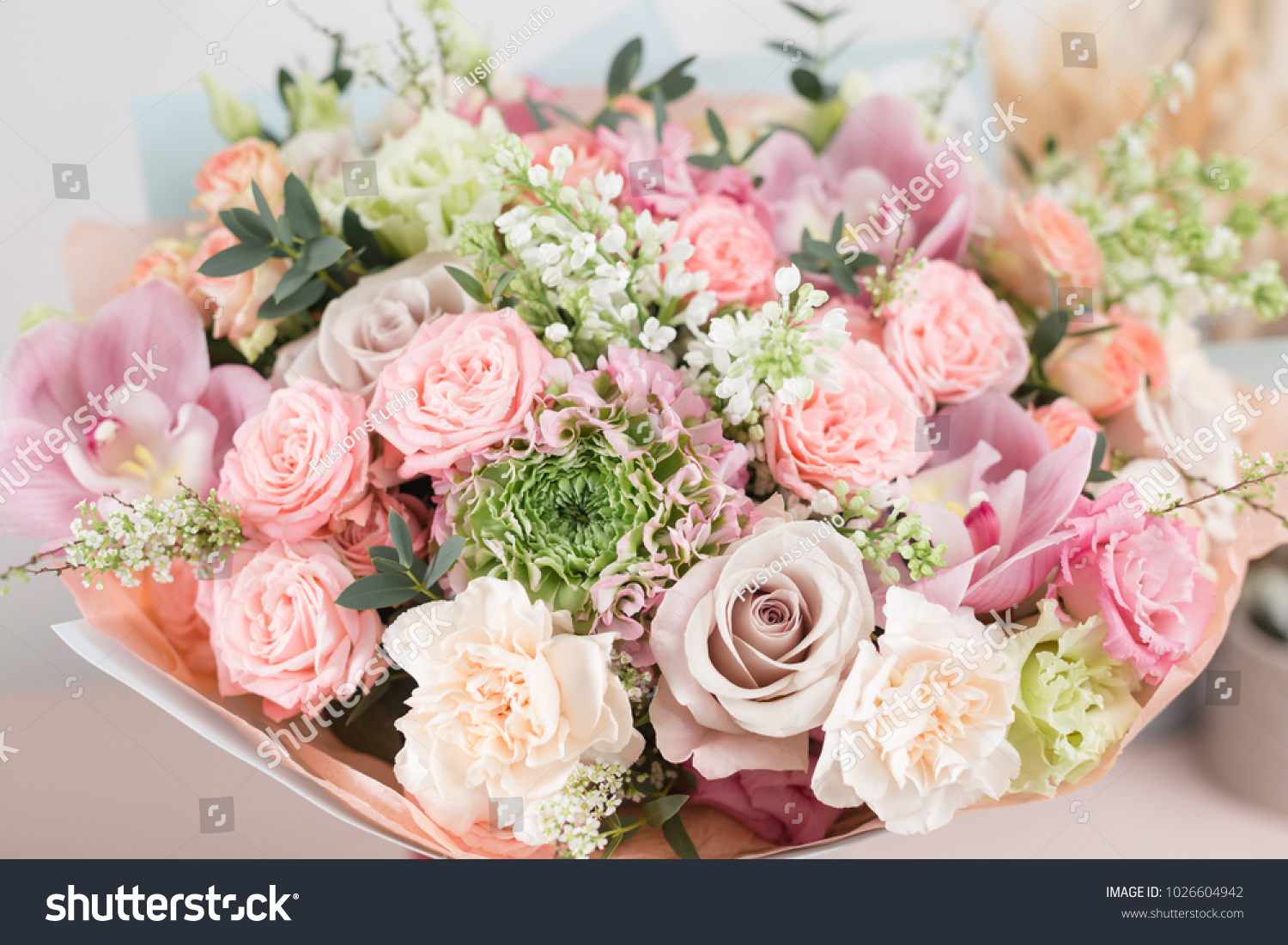 beautiful luxury bouquet of mixed flowers in vase . the work of the ...