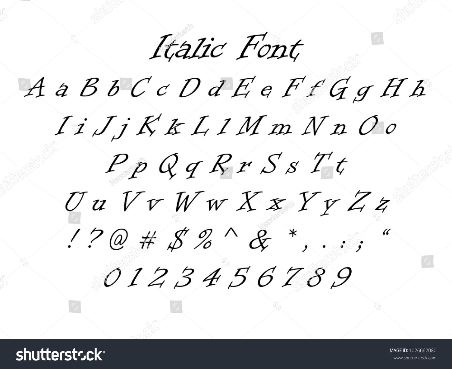 Italic Font Numbers Letters And Symbols Full