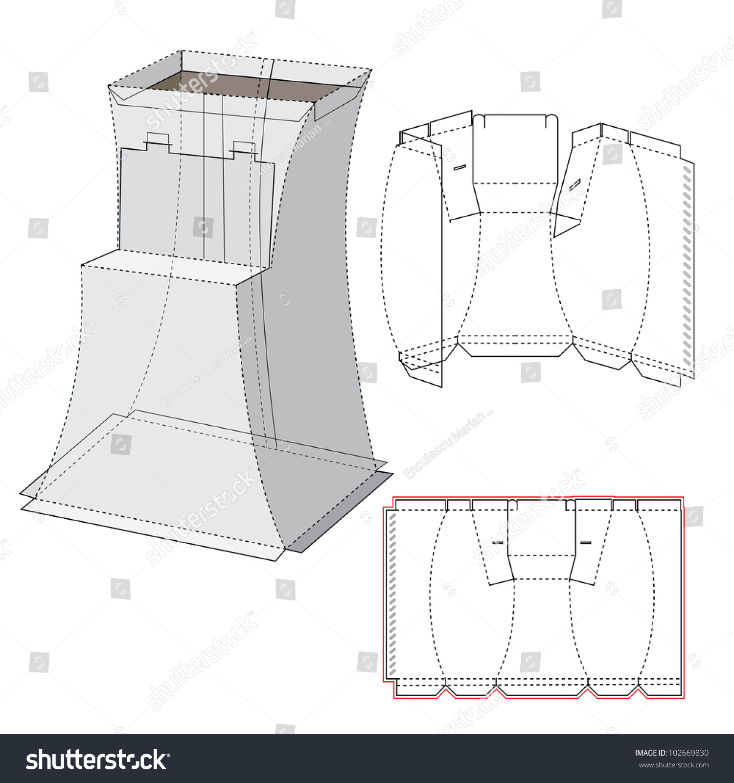 curved display box diecut pattern stock vector 102669830 With curved box template