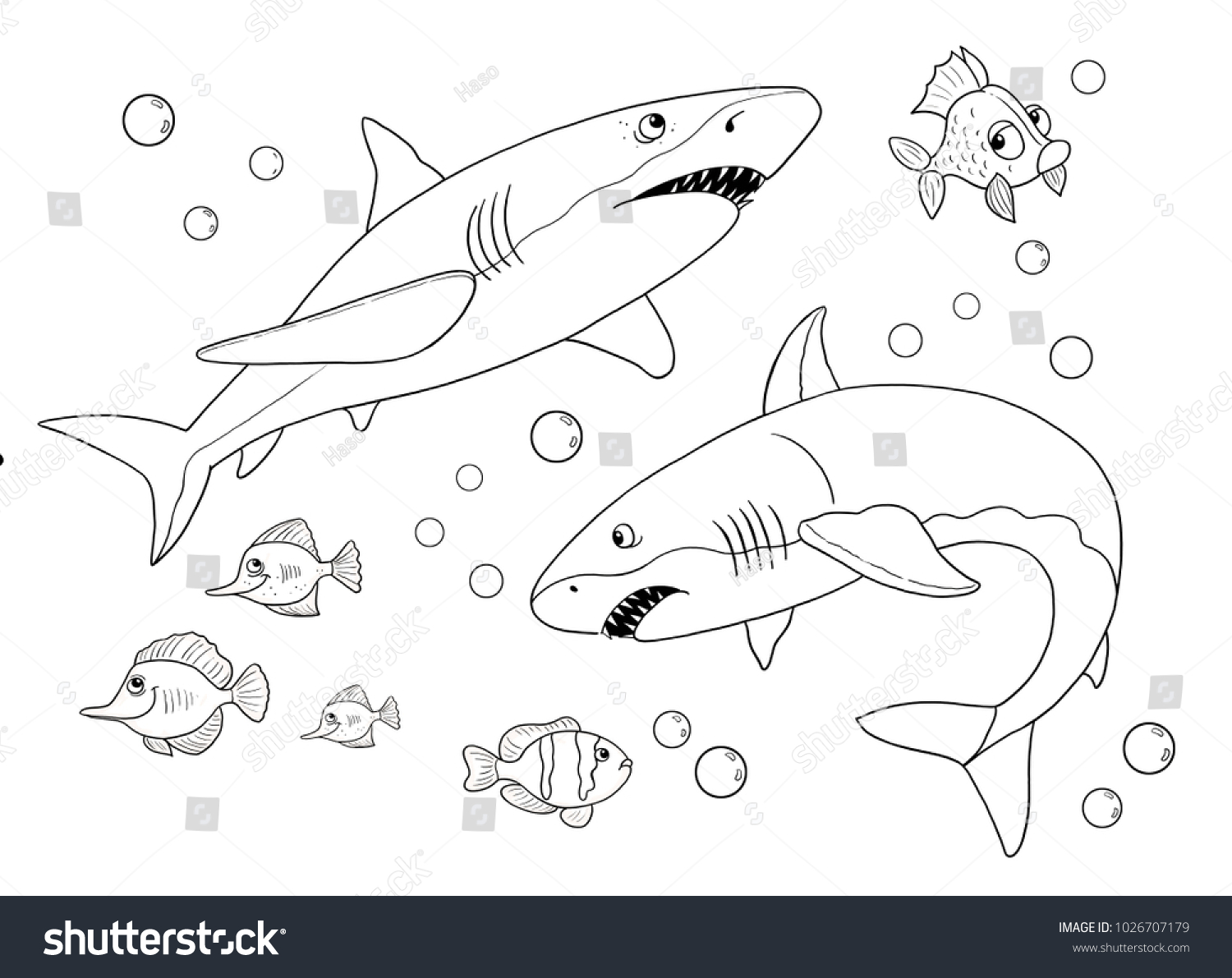 Sharks Coloring Page Cute And Funny Cartoon Characters