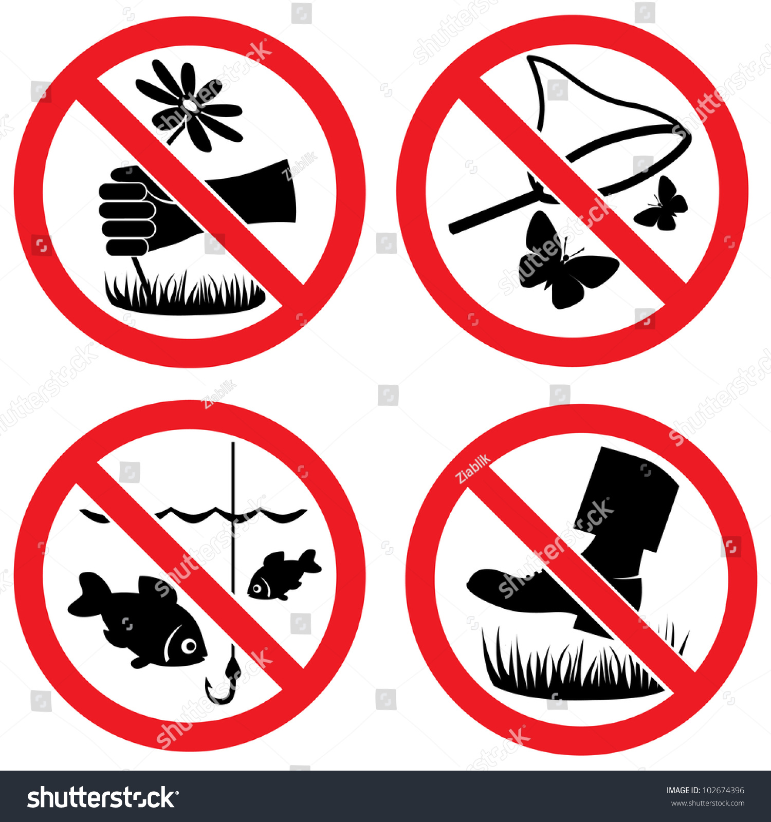 Signs Do Not Pick Flowers Fishing Stock Vector 102674396