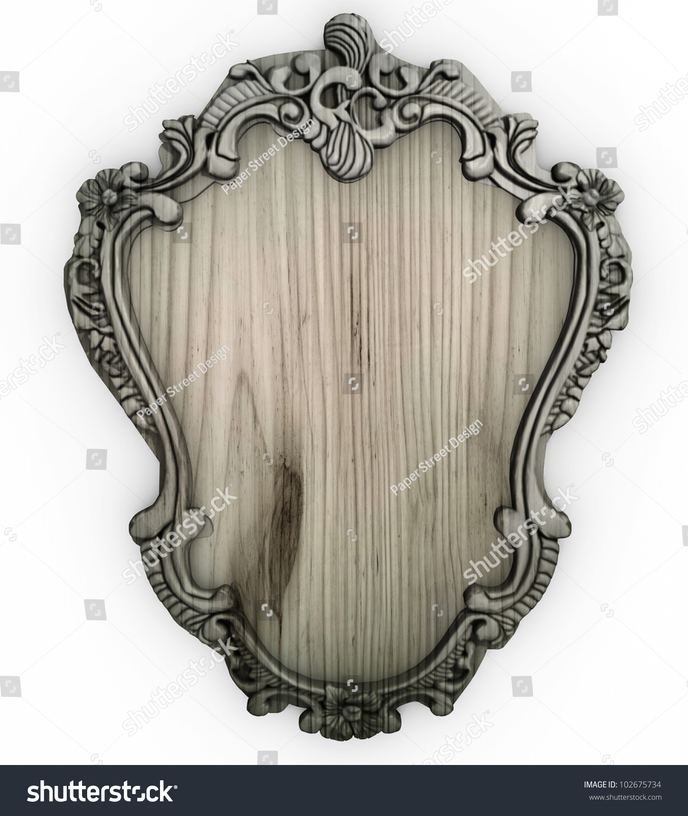 isolated white wooden ornate frame with backing board