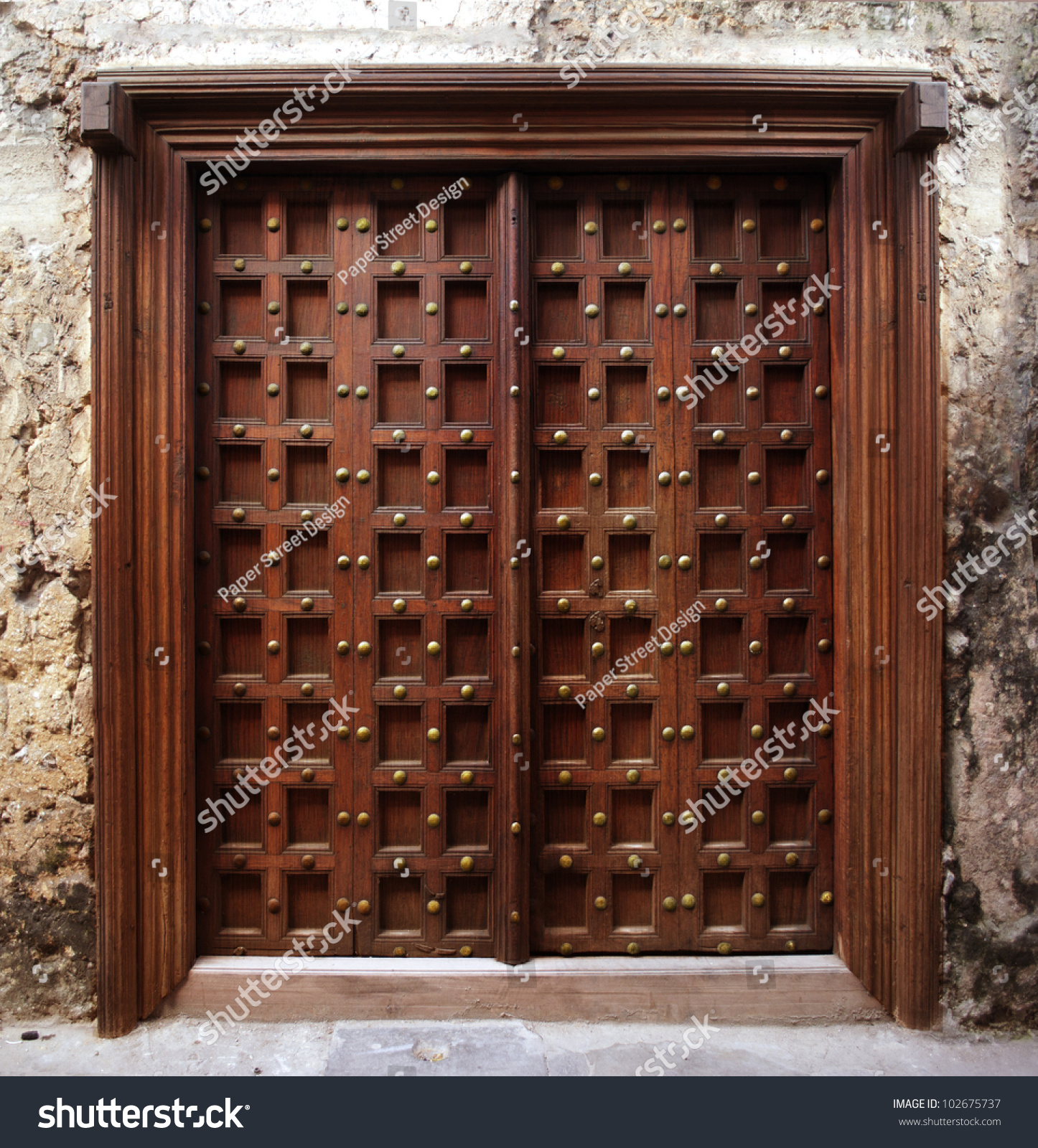 Antique indian style wooden door stock photo 102675737 for Architecture antique
