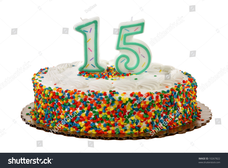 White Iced Sprinkle Covered Anniversary Or Birthday Cake