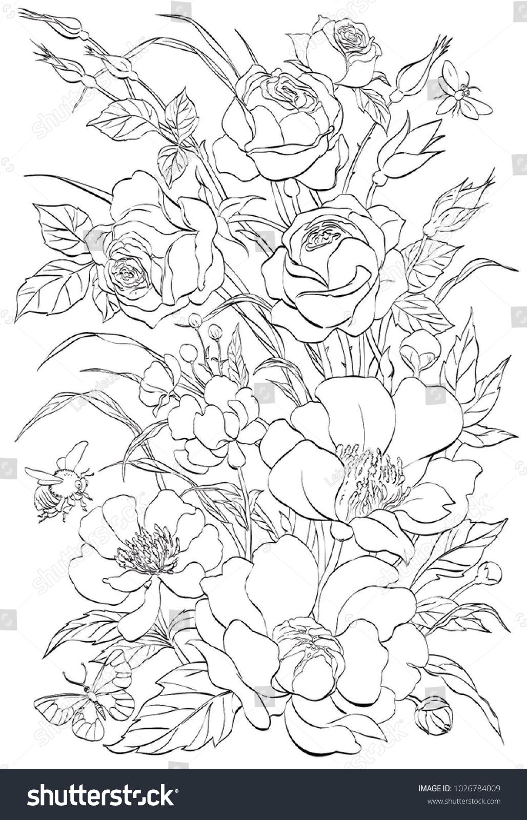Vector Outline Flowers Bouquet Roses Peonies Line Stock Vector
