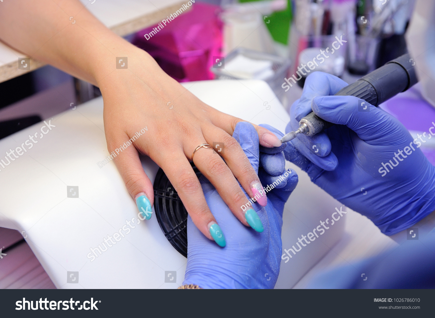 Repair Old Gel Nails Nail Grinder Stock Photo & Image (Royalty-Free ...