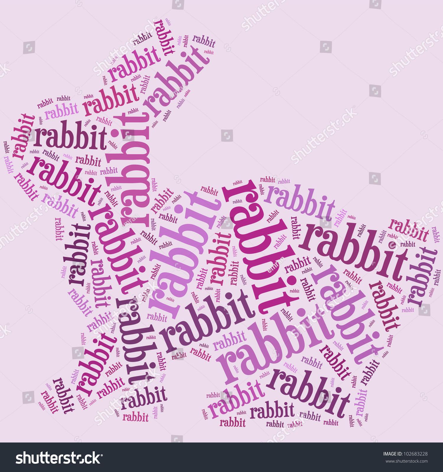 rabbit word cloud composed shape rabbit stock illustration