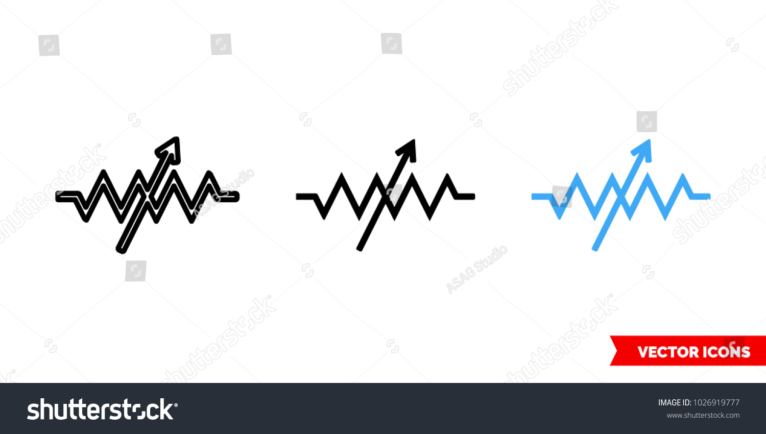 Variable Resistor Symbol Icon 3 Types Stock Vector Royalty Free