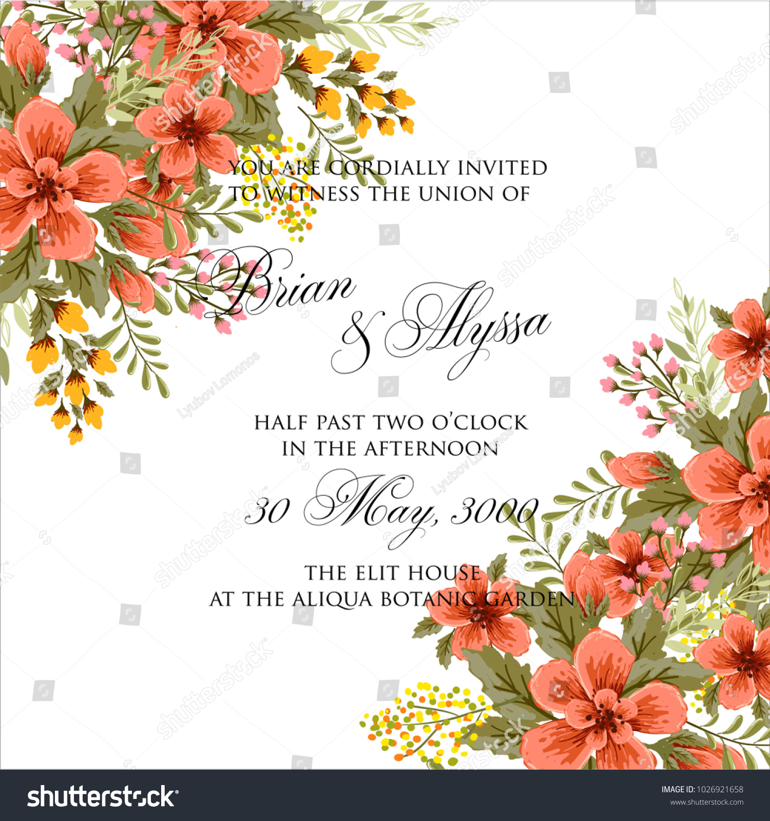 Marriage invitation card pink flowers wedding stock vector marriage invitation card with pink flowers wedding floral vector template kristyandbryce Gallery