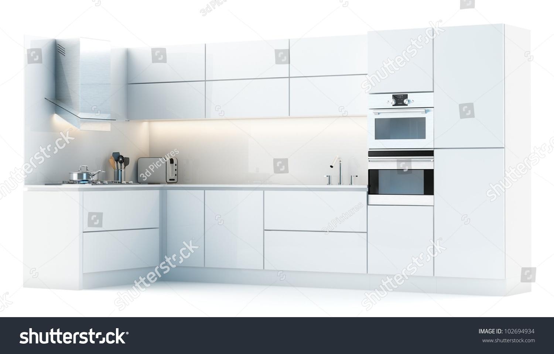 Modern White Kitchen Modern White Kitchen Isolated On White Stock Illustration