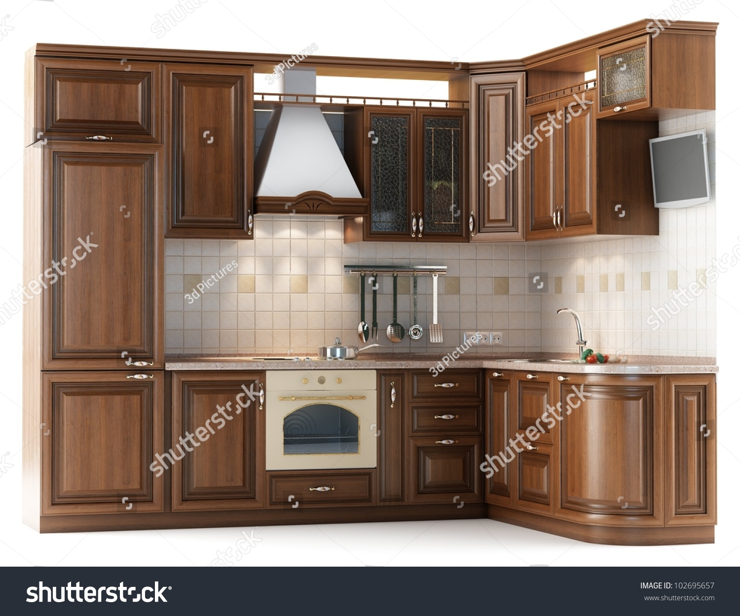 Furniture Kitchen Beautiful Kitchen Furniture Made Wood Studio Stock Illustration