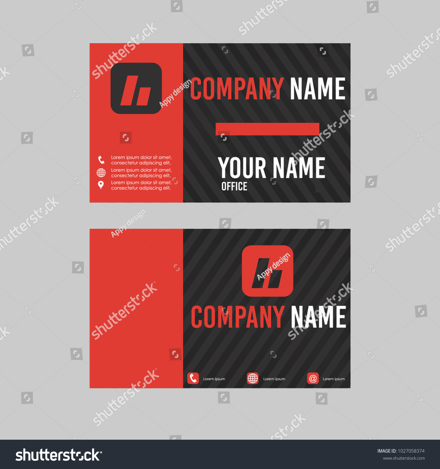 Template Id Card Business Card Black Stock Photo (Photo, Vector ...