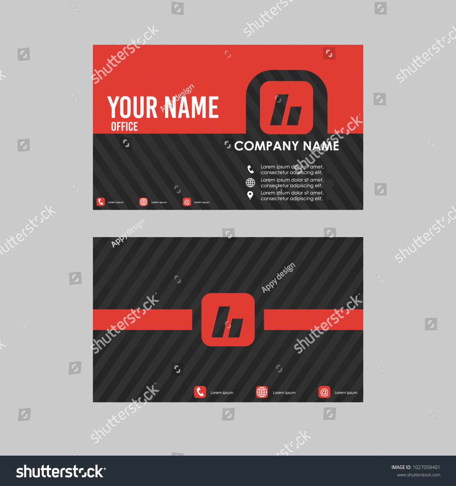 Template Id Card Business Card Black Stock Vector HD (Royalty Free ...