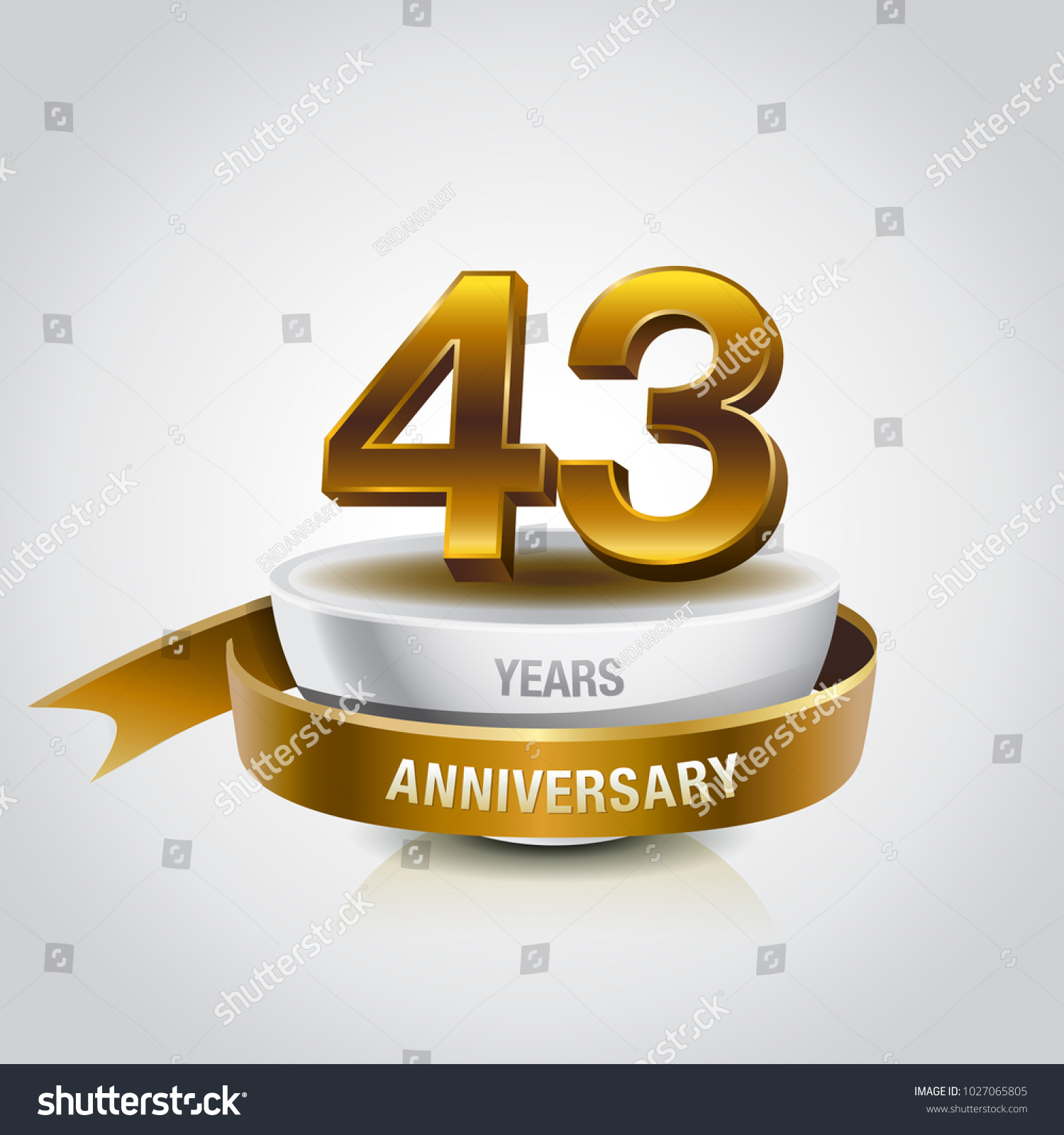 43rd Years Golden Anniversary Logo Celebration Stock Vector Royalty