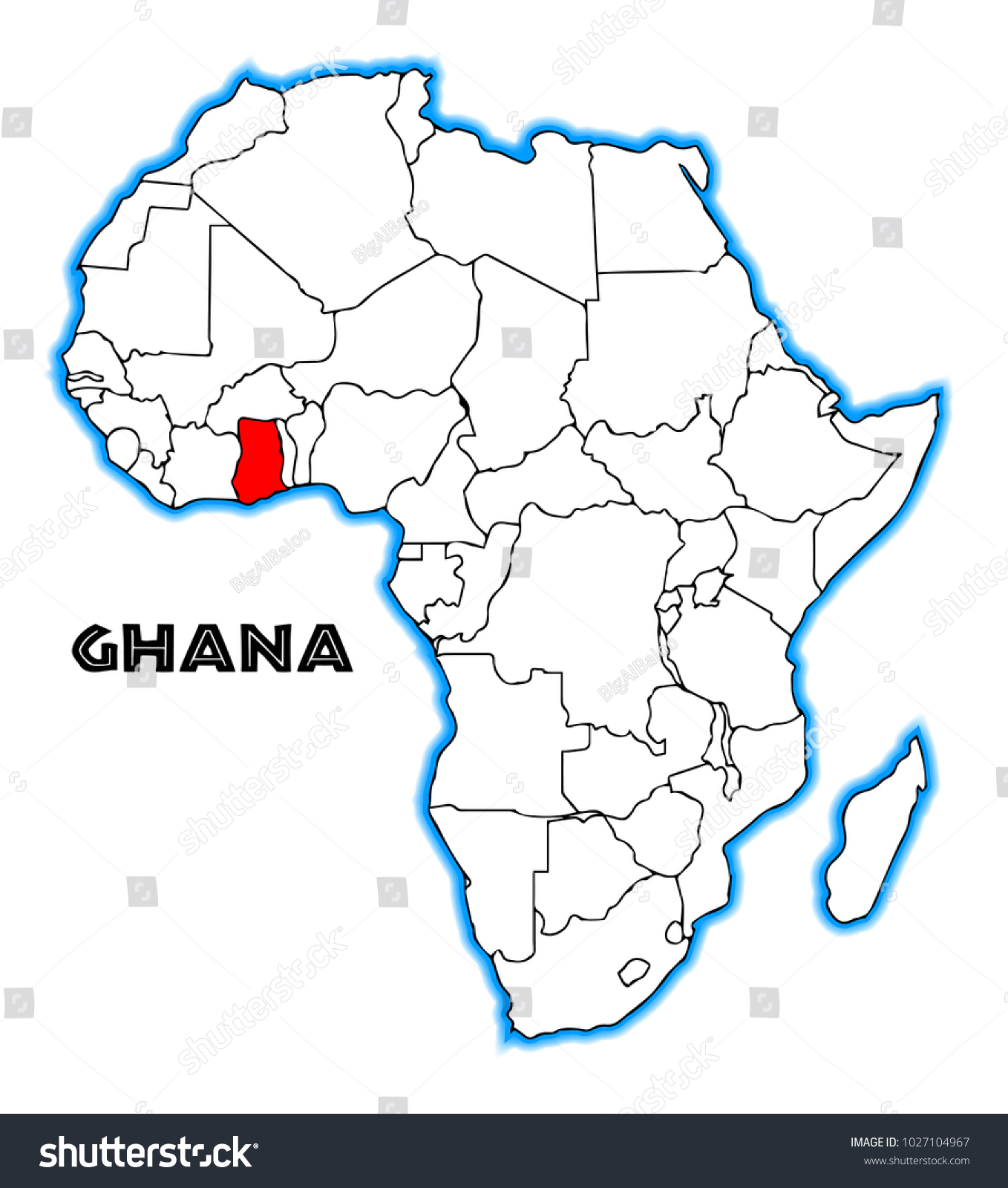 Ghana Outline Inset Into Map Africa Stock Illustration 1027104967