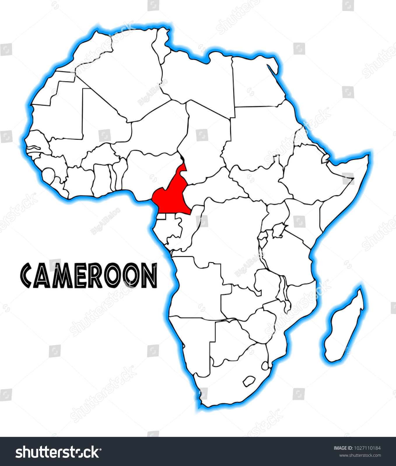 Cameroon Outline Inset Into Map Africa Stock Illustration 1027110184